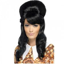 1960s Brigitte Bouffant Wig Black Beehive Ladies Fancy Dress Costume Accessory