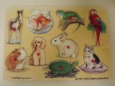 1996 Lights, Camera, Interaction! Easy Grip Peg Wooden Puzzle Pets Cat Dog Horse