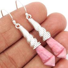 """EARRINGS New Australian Pink Opal 925 Sterling Silver Earrings Jewelry 2"""" 6g"""