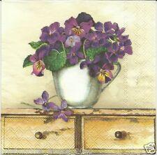 3 Servietten Napkins Blumentopf lila Stiefmütterchen #90
