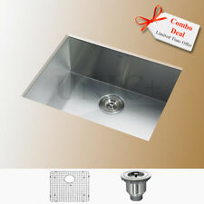 "23"" Zero Radius Under Mount Kitchen / Bar Sink Single Bowl KUS2318 16 Gage Combo"