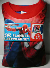 Brand New Boys SPIDERMAN 2  Flannel Pajamas 2 piece Sleep wear Set Size 4/5 4 5