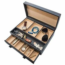 Stock Your Home Mens Dresser Top Valet- Jewelry Organizer Chocolate Faux Leather