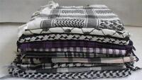 Arab Shemagh Scarf Black White Purple Check Vintage Keffiyeh Square Indie Mod