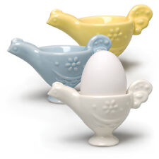 3 Chicken Color Ceramic Soft Boiled Egg Cup Tray Holder Kitchen Retro Style