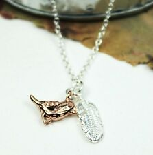 Silver plated feather & rose gold Plated Bird Necklace.Personalised card.gift.