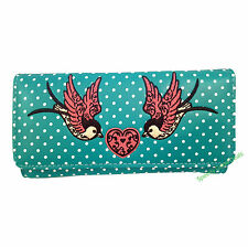 Banned Rockabilly 50s Polka Dot Tattoo Swallow Heart Wallet Pink Sky Blue Aqua