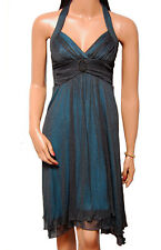 C022 - Ladies Black Teal Sparkle Evening Prom Dress – UK 6/8