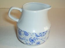 PORCELAIN JUG RIBBED BODY BLUE FLOWER PATTERN CHODZIEZ MADE IN POLAND MILK CREAM