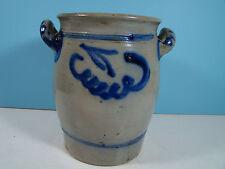 antique STONEWARE 1 Gallon Floral COBALT BLUE Crock NICE!!!!