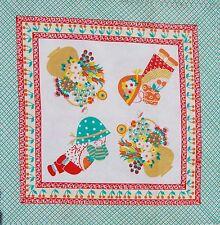 Vintage Cotton Fabric Material  Novelty Panel  Children Applique 40x40cm