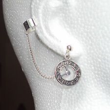 Clock -  Ear Cuff Clip Chain Dangle Piercing  *UK MADE * - *FREE POST*