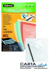 Copertine per Rilegatrice in PVC trasparente FELLOWES, 150 mic, 100 pezzi, A4