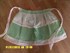 Vintage Germany green white check lace ruffle reversible apron with four pockets