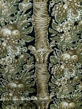 "Hand Painted Cotton Fabric by STROHEIM & ROMANN ""kenwood house"" ebony 12 yds"