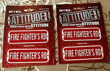 New/Fire Fighter's Rd - Mini Street Signs - Attitude Street USA - Lot of 2