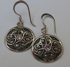 Vintage Sterling Dangle Earrings 3mm Pink CZs Leaf Repousee, Konder #758