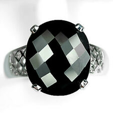 Silver 925 Oval Cut with Checkerboard Table Black Spinel Ring Size M (US 6.25)