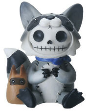 Furrybones Bandit Skeleton in Raccoon Costume with Baby Raccoon Figurine