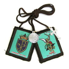 Scapular St Michael Archangel Shield Brown Scapular 100% Wool & Medals Catholic