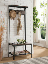 Kings Brand Furniture Antique Finish Entryway Hallway Bench With Coat Rack