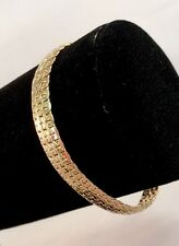 "14k Solid Yellow Gold 7"" Tight Link Bracelet Milor Italy 7.6mm Wide 6.3g"