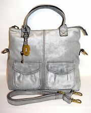 FOSSIL Modern Cargo Convertible Suede Leather Crossbody Shoulder Bag Tote