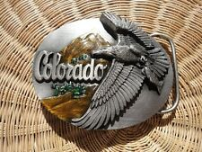 Vintage RARE Colorado Pewter Enamel Belt Buckle Nature Eagle Wildlife Siskiyou