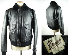 Vintage BARMAN'S Black Leather Bomber Fright Jacket G-1 A-2 Style Sz 46