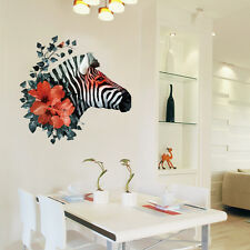 Creative Zebra Animal Head Wall Art sticker Watercolour Flowers Decals Horse