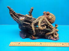 YM0815 Ship Wreck w/ Octopus Heavy Aquarium Decoration Hand Painted