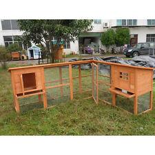 """DELUXE 98"""" Corner Rabbit Hutch Bunny Chicken Coop Guinea Pig Ferret Cage"""
