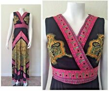 Vtg 60s 70s Wide Leg Palazzo Pants Jumpsuit Psychedelic Maxi dress Bell bottom S