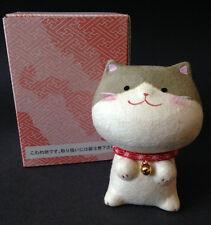 Japanese Washi Paper Hand Painted Lucky Maneki Neko Cat Figurine, Made in Japan