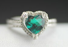 WONDERFUL VINTAGE STERLING SILVER ARTISAN GREEN STONE AND DIAMOND RING SIZE 8