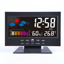 Multi-Color Digital Wireless Weather Station in Black Thermometers Hygrometers