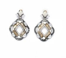 Fashion Statement White & Glass Stone Danglers Drops Earrings Summer Beach Gift