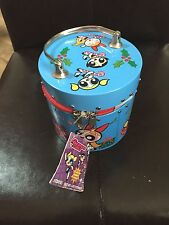 POWERPUFF GIRLS TIN Christmas COLLECTIBLE ZIPPERED NEAR MINT TAG 2001 NEVER USED