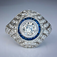 Gold Art Deco Diamond Sapphire Bombe Ring