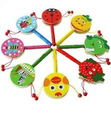 Baby Kid Child Shaking Rattle Wooden Musical Hand Bell Drum Toy Gift 1PC