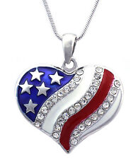 New 4th of July US Flag Crystal Charm Heart Pendant Necklace Patriotic Jewelry