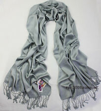 Silver Solid Pashmina Cashmere Shawl Scarf Stole Wrap Christmas Gift