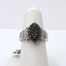 New 10k White Gold .50ct Black White Diamond Marquise Shape Cocktail Ring Sz 7