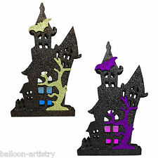 "12"" Halloween Black Glitter HAUNTED HOUSE Party Table Centrepiece Decoration"