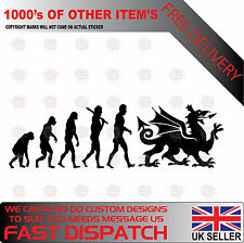 EVOLUTION WELSH DRAGON Car/Window WALES RUGBY CYMRU  Vinyl Decal Sticker