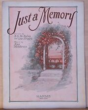 Just A Memory sheet music - 1927 - garden arbor with roses illustration