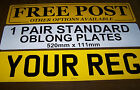 CAR NUMBER PLATES 1 PAIR REGISTRATION PLATES DVLA/MOT LEGAL FREE FIXINGS