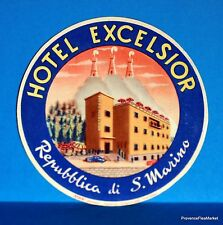 Hotel  EXCELSIOR  S . MARINO   Original  luggage label  BD88
