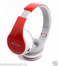Red Bluetooth 4.0 Headphones Headset for all Cell phones Tablet PC with Micphone