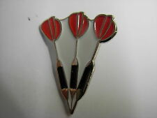 Dart pin badge. Set of Darts. Red flights.